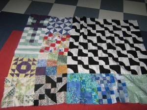 My mismatched quilt of past quilts.