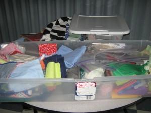 My box of scraps and fabrics.