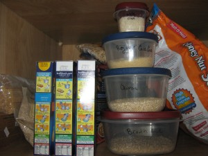 My super organized grains next to Hunni's Mac & Cheese.