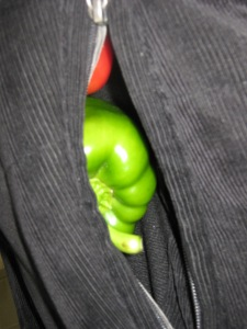 Smuggled out peppers (not really...he didn't want to waste a bag)